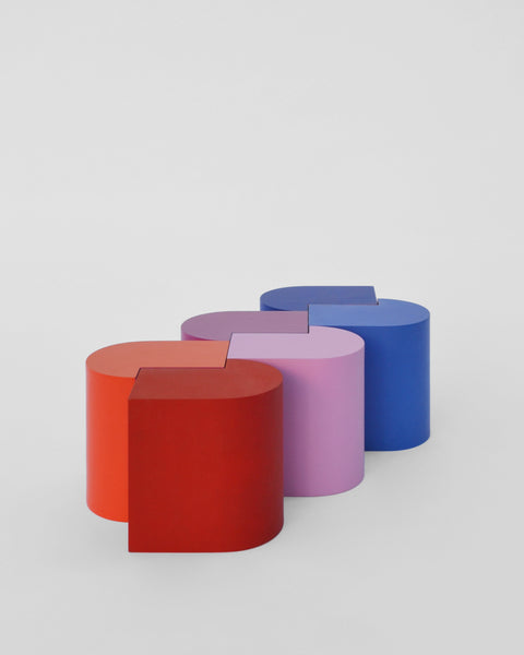 Design forward and beautiful stools for your home interior. HOOKED is a serie of stools that can be used for seating or display. Each serie is made up of six stools with the same shape and dimensions, but a different colour. A well-thought-out yet simple shape makes it possible to make numerous combinations. Colorful stools with a contemporary design. Available in various color combinations. Shipping worldwide. Made to order. A design that adds value to every modern and contemporary home and interior.