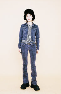 Gray Denim Over Dyed Slim Flare Pants (PSP)