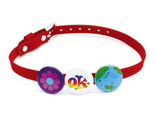 Earth Choker Button Red Belt Flower