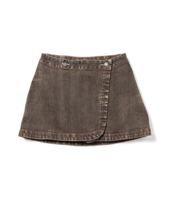 Gray Denim Over Dyed Wrap Skirt (BRS)