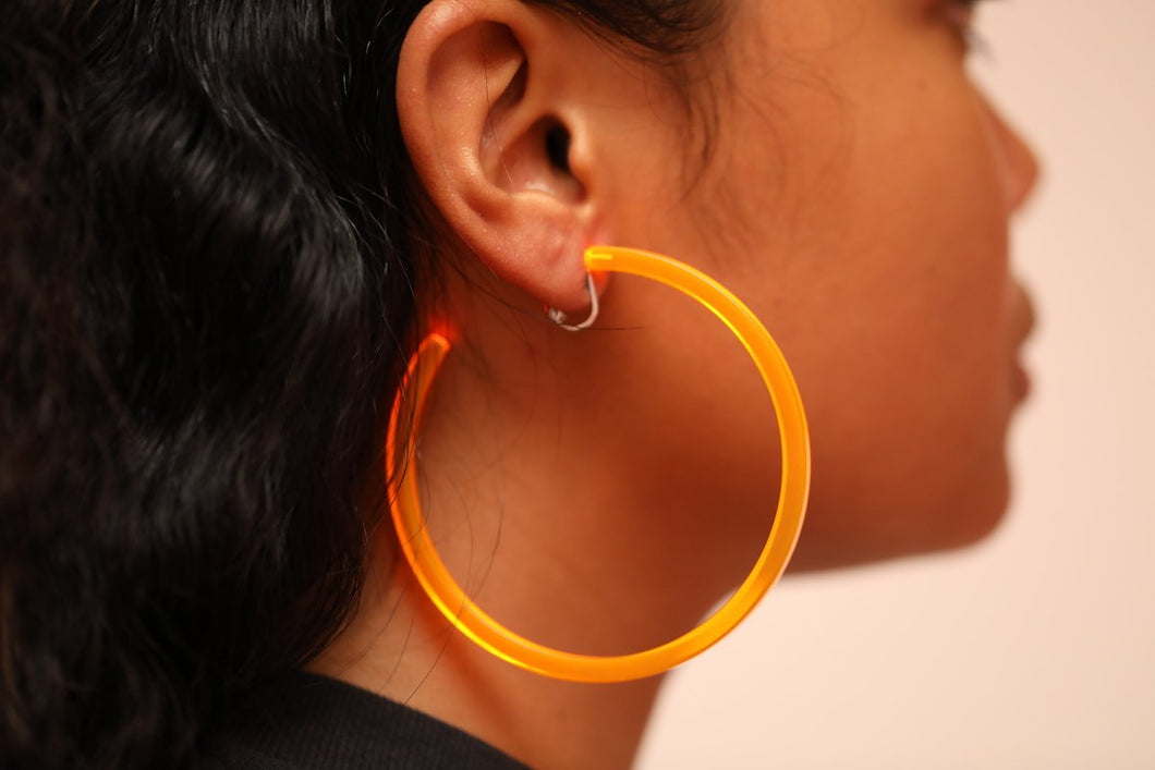 Infinity Hoops (clip earrings) Orange