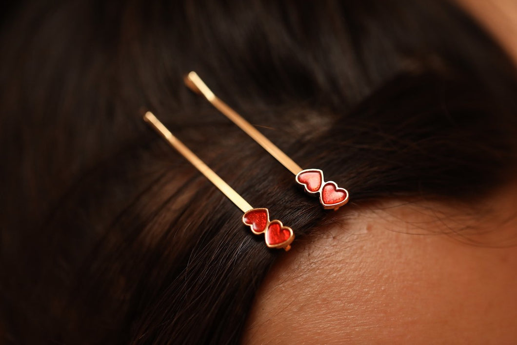 Upside Down Heart Hairpin Gold