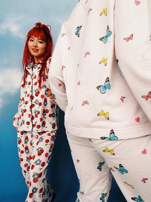 Pajama Set Cherry Open Neck