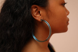 Infinity Hoops (clip earrings) Blue