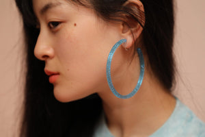 Galaxy Hoops (clip earrings) Blue