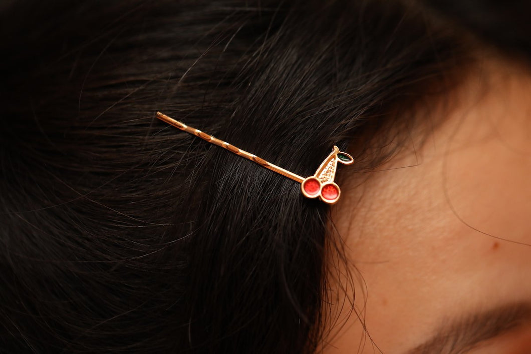 Lil Cherry Hairpin Gold