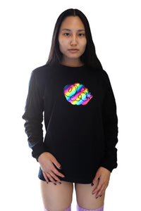 [OK × OC]  RAINBOW FOIL PRINT LONG SLEEVE T-SHIRT (Black)