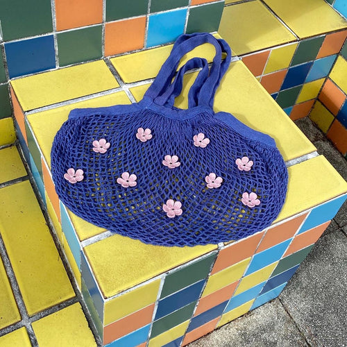 flower net eco bag (Blue)