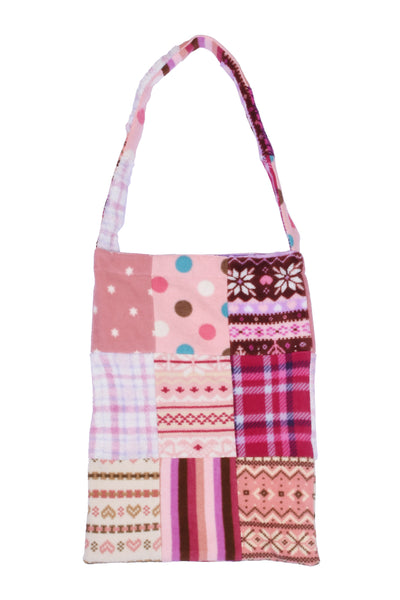 fleece patched tote bag A