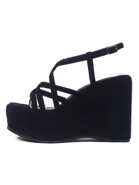 [OK×ESPERANZA] Cross Strap Wedge Sandals (Black Suede)