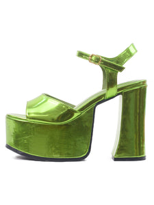 [OK×ESPERANZA] Chunky Heel Sandals (Light Green)
