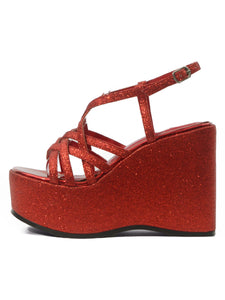 [OK×ESPERANZA] Cross Strap Wedge Sandals (KIRAKIRA Red)