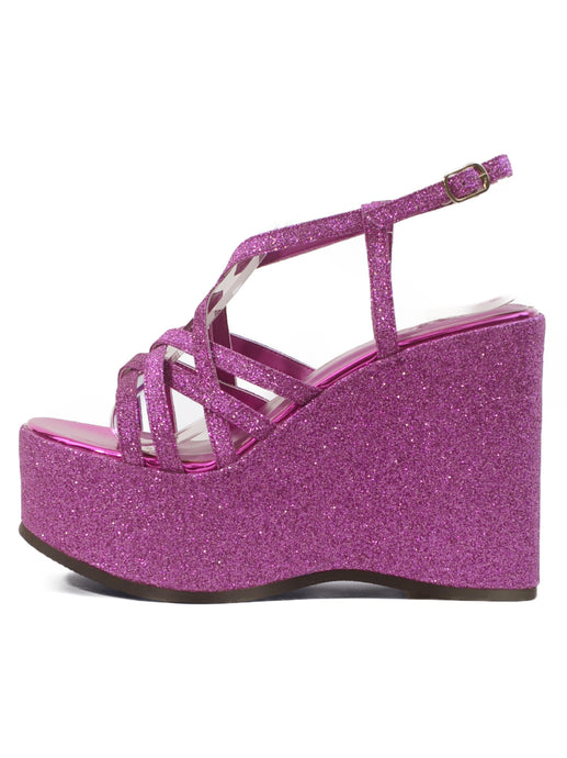 [OK×ESPERANZA] Cross Strap Wedge Sandals (KIRAKIRA Pink)