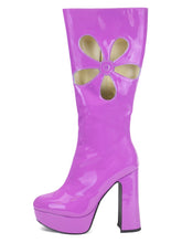 [OK×ESPERANZA] Enamel Flower Boots(GRAPE)