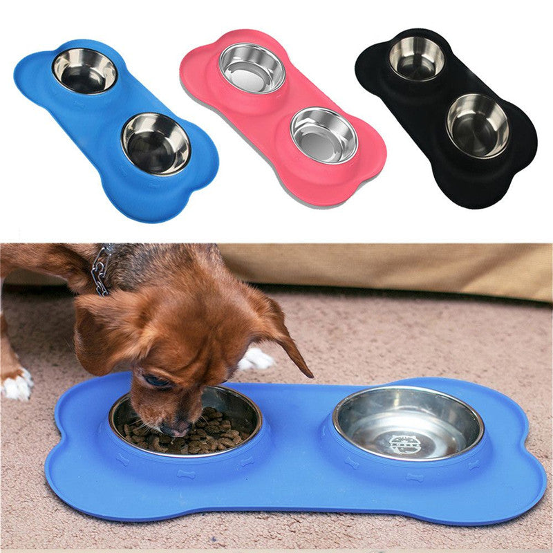 stainless steel dog bowls with nonskid silicone mat