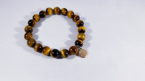 Lost Gemz Tigers Eye Gold Plated Charm Bracelet