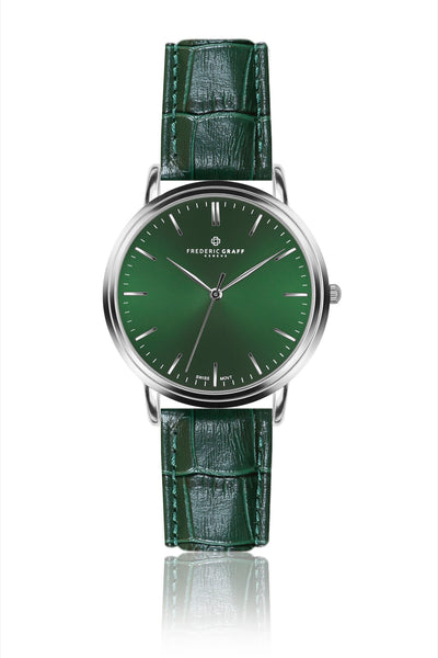 Silver Grunhorn Croco dark green Leather