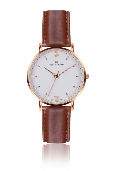 Rose Dent Blanche Cognac Leather