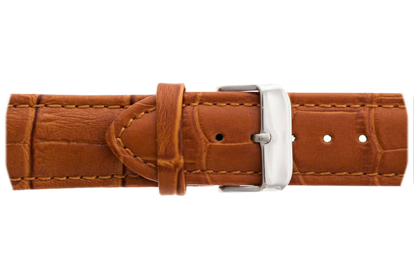 Silver Dent Blanche Croco ginger brown Leather