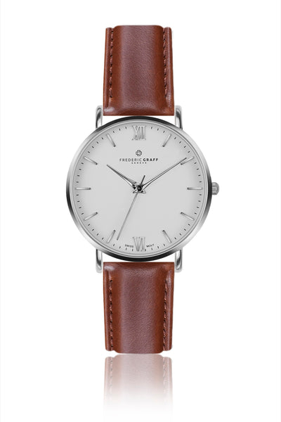 Silver Dent Blanche Cognac Leather