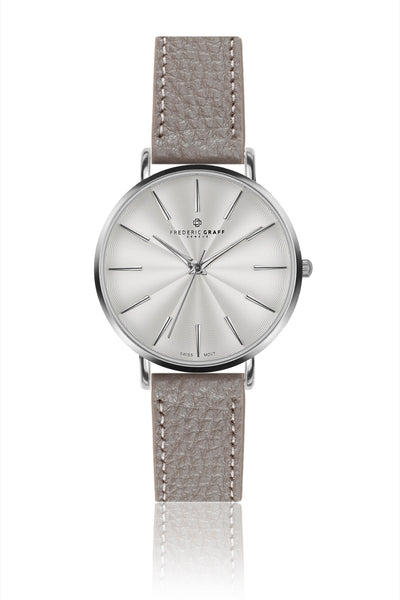 Silver Monte Rosa Lychee grey Leather