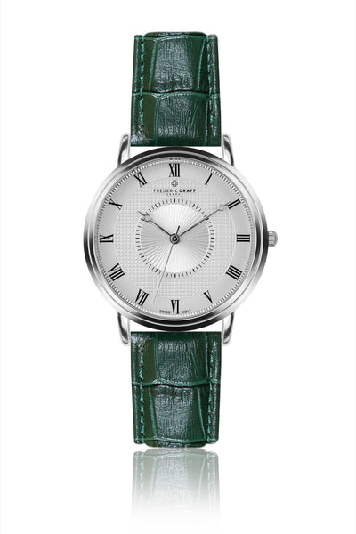 Silver Grand Combin Croco dark green Leather