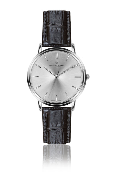 Silver Breithorn Croco black Leather