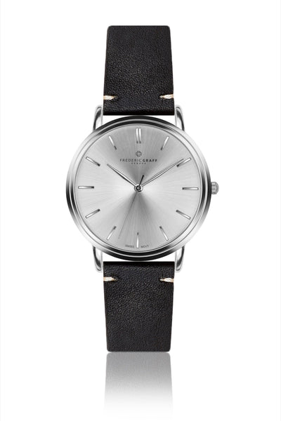 Silver Breithorn Black Leather