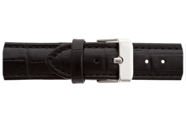 Silver Monte Leone Croco black leather