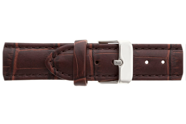 Silver Basodino Croco brown leather