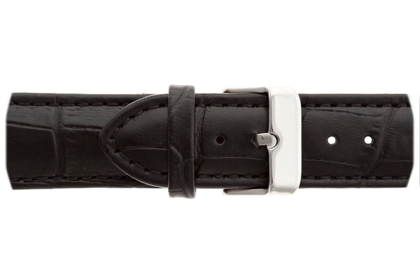 Silver Monch Croco black leather