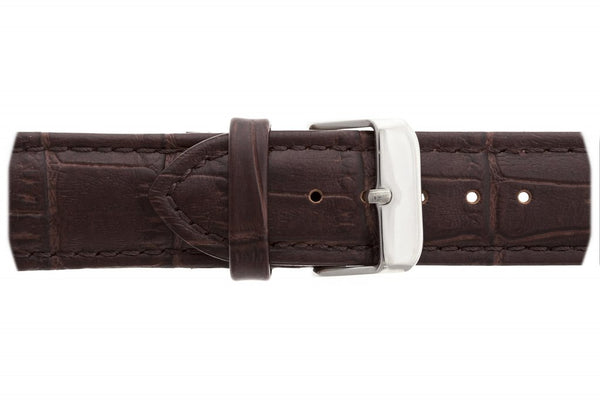 Silver Monch Croco Brown Leather