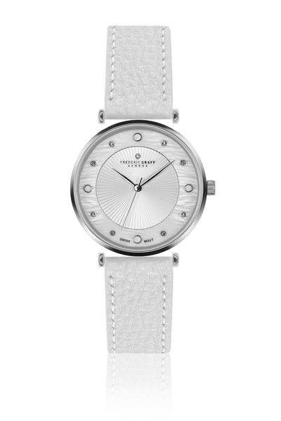 Silver Jungfrau Lychee White leather