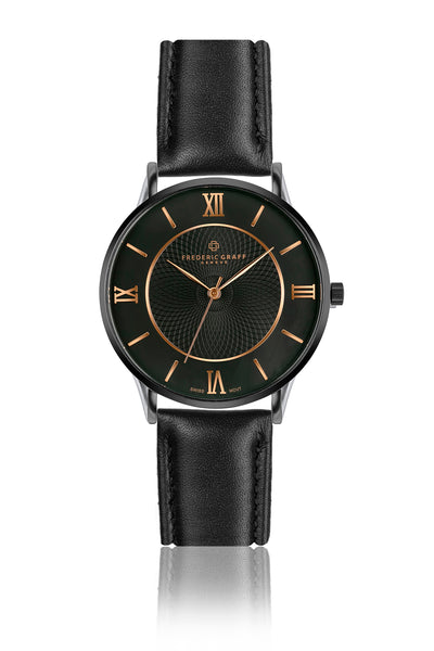 Lhotse Black Leather Strap Watch