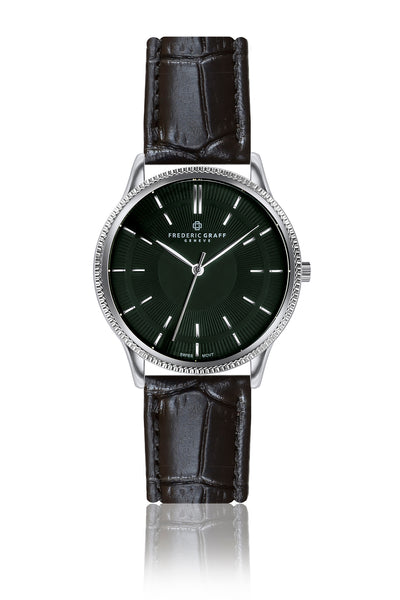 Broad Peak Black Croco Leather Strap Watch