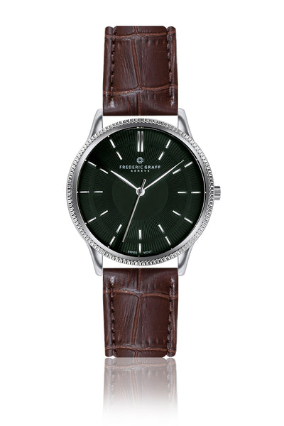 Broad Peak Brown Croco Leather Strap Watch