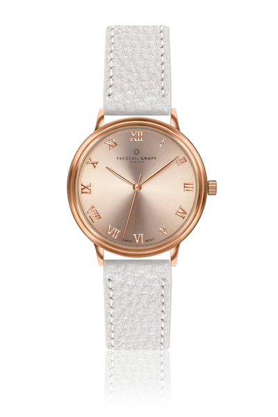 Annapurna Lychee White Leather Strap Watch