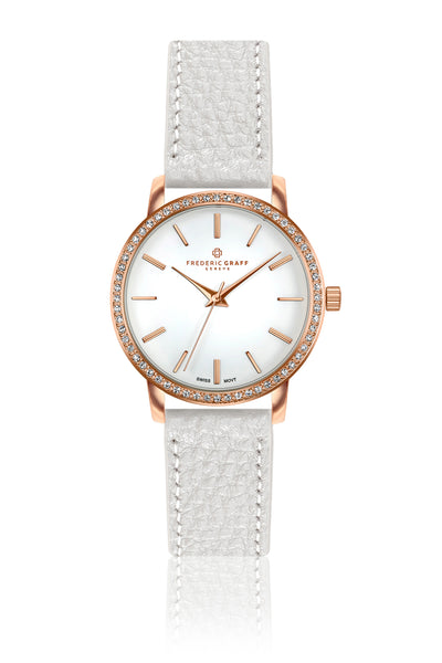 Chomo Lonzo Lychee White Leather Strap Watch