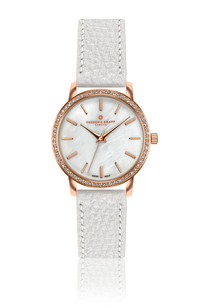 Kamet Lychee White Leather Strap Watch
