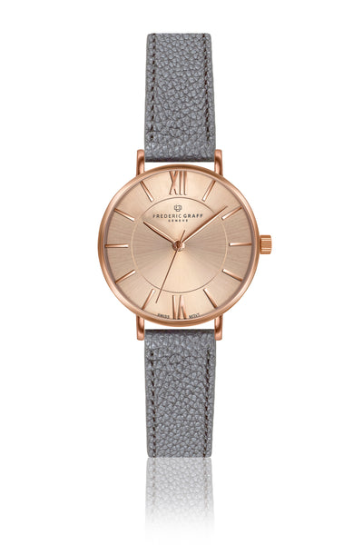 Shispare Lychee Grey Leather Strap Watch