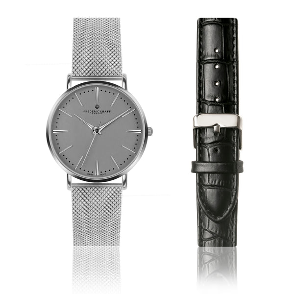 Set of Watch and Bracelet Silver Eiger