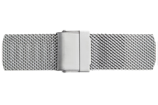 Silver Monte Leone Silver Mesh Watch & Croco Black Leather Strap