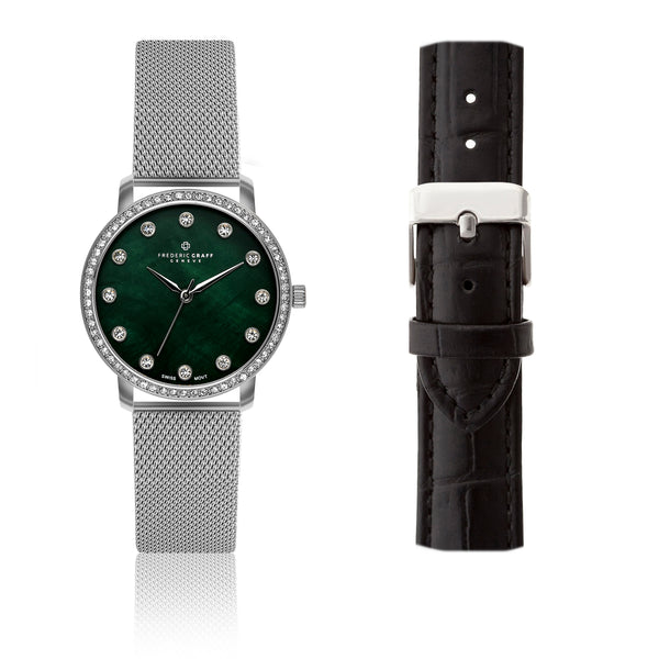 Silver Mont Gele Silver Mesh Watch & Croco Black Leather Strap