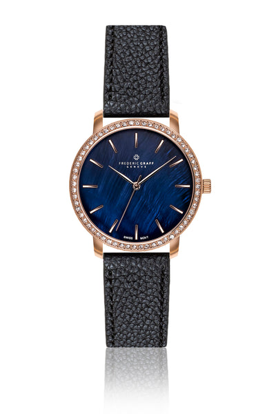 Rose Monte Leone Rose Gold Mesh Watch & Lychee Black Leather Strap