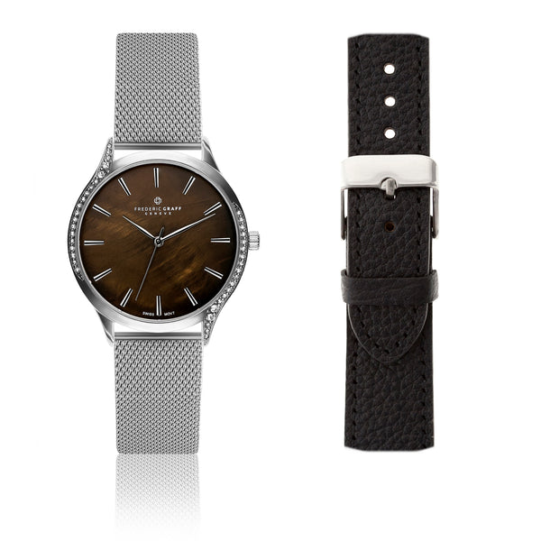 Silver Basodino Silver Mesh Watch & Lychee Black Leather Strap