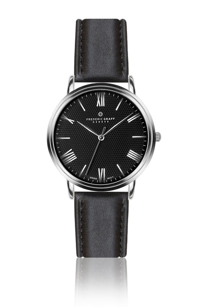 Silver Monch Croco Black Leather Watch & Black Leather Strap