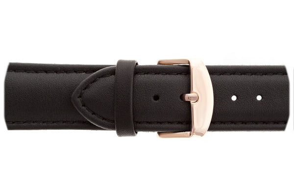 Rose Matterhorn Black Leather Watch & Blue Croco Leather Strap