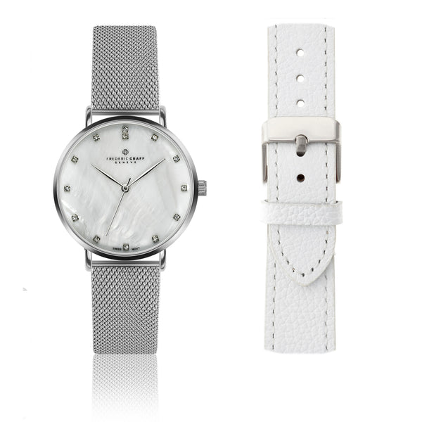 Silver La Singla Silver Mesh Watch & Lychee White Leather Strap