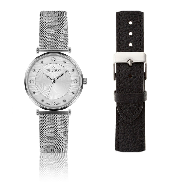Silver Jungfrau Silver Mesh Watch & Lychee Black Leather Strap
