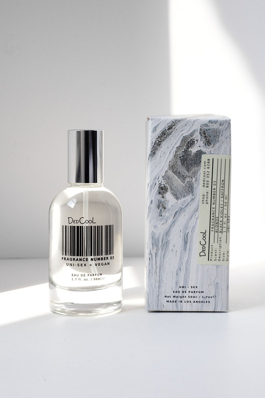 "Dedcool Fragrance 03 ""Blonde"". Uni-sex, Non-Toxic, Vegan Fragrance. Made in Los Angeles. Clean, Natural, Organic, Safe."